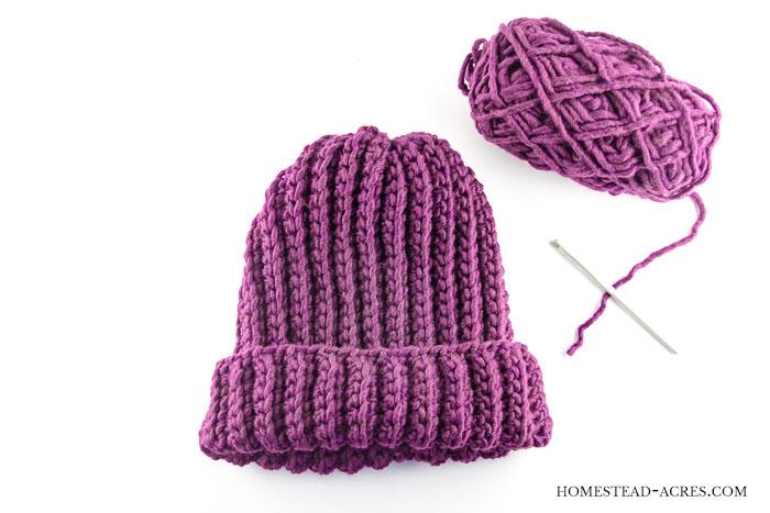 Crochet Ribbed Hat Pattern