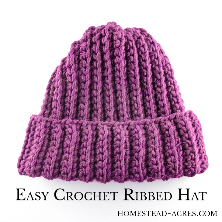 91f74fa39d9 Crochet Ribbed Hat Pattern - Homestead Acres
