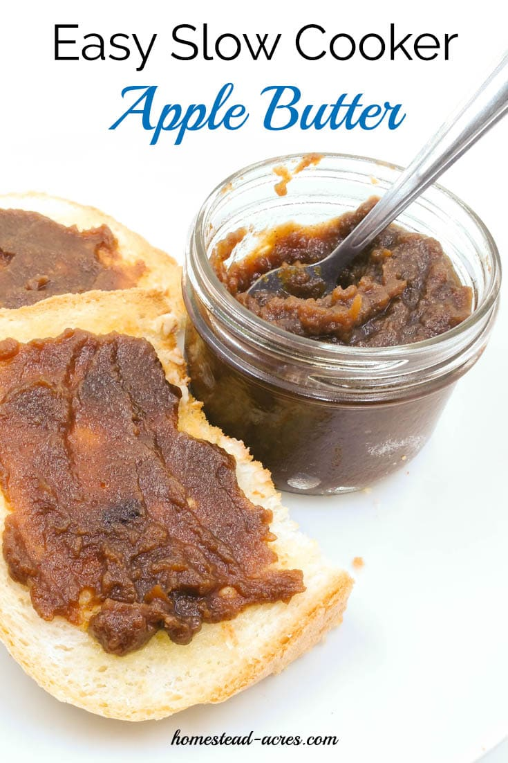 This slow cooker apple butter recipe is just so easy to make! Delicious with bread, muffins, pancakes and a wonderful gift to share!   www.homestead-acres.com