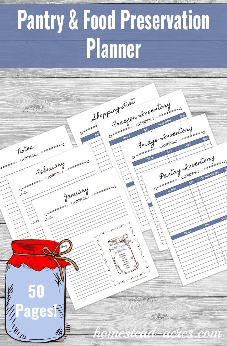 image about Pantry Inventory Printable titled Pantry And Food items Preservation Planner Printable - Homestead Acres
