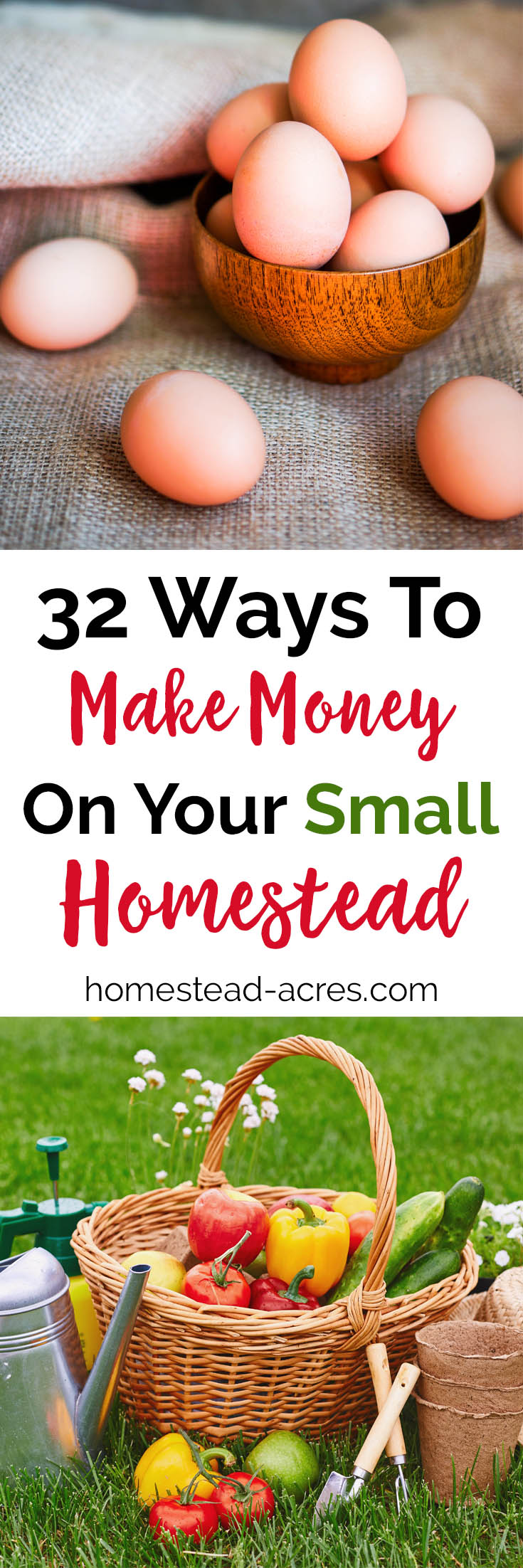 32 real ways you can make money homesteading. A great source to brainstorm ideas for working at home on your small farm. #homestead #homesteading #makingmoney