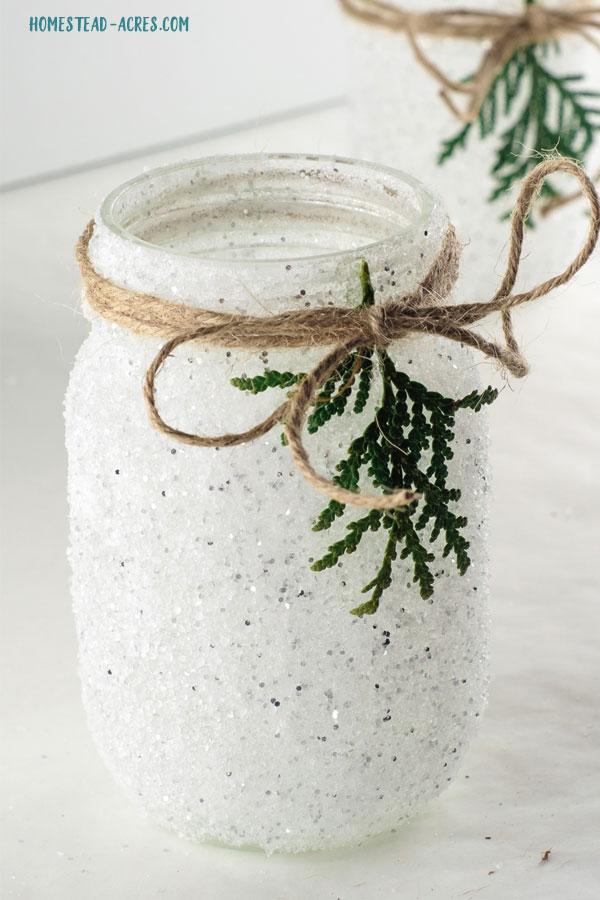 Snowy Mason Jar Candle Holder