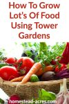 How To Grow Lots Of Food Using Tower Gardens text overlaid on a basket of fresh vegetables.