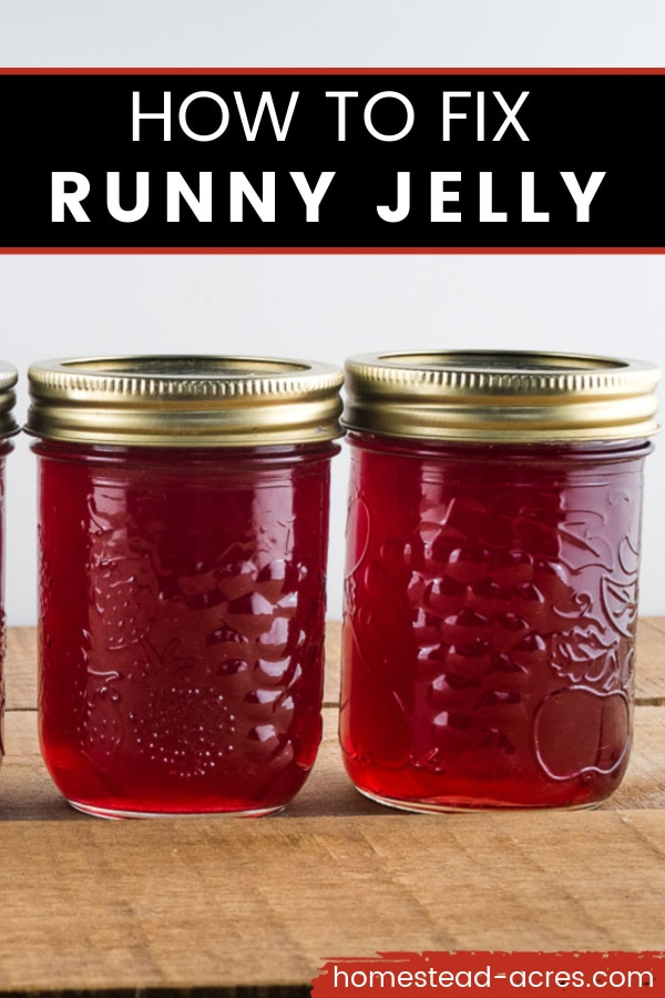 How To Fix Runny Jelly text overlaid on a photo of 2 red jelly jars sitting on a wooden table