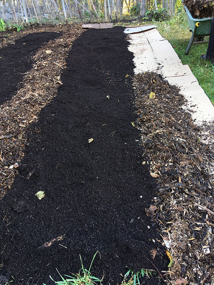 Filling in the pathway section with mulch.